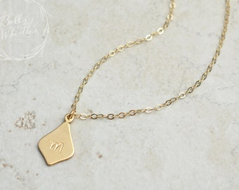 Initial Necklace, personalized necklace, Gold, Silver, Rose Gold, personalized Initial Necklace, flower petal necklace, birthday gift