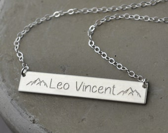 Name plate necklace, new mom jewelry, mom necklace with kid name, personalized necklace for mom, Personalized Bar Necklace