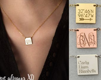 personalized square necklace, mom gift, monogram necklace, coordinates necklace, kids names necklace, new mom necklace, christmas gift