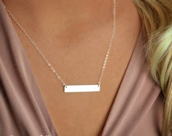 Personalized Bar Necklace, Gold Bar Necklace, Wedding date, Anniversary date, bridesmaid gift, anniversary gift, custom necklace