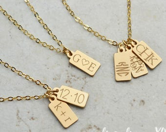 Wedding Date Necklace, Anniversary Date Necklace / Gold, Silver, Rose Gold / Personalized Initial Necklace, Wedding Gift