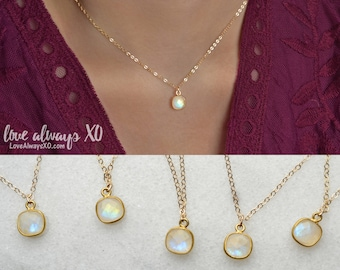 Moonstone necklace, opal necklace, gemstone layering necklace, gemstone pendant, gold necklace, 14k gold filled