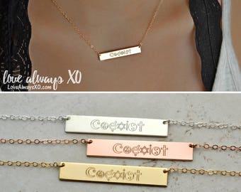 Coexist Necklace, Coexist symbols necklace, Personalized Bar Necklace, gold bar necklace, silver bar necklace, rose gold bar necklace