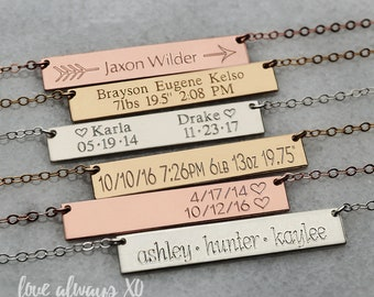 Mom necklace, new mom jewelry, mom necklace with kid name, personalized necklace for mom, Personalized Bar Necklace, Gold Bar Necklace