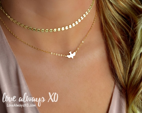 Gold Dove Necklace, Bird Necklace, Gold Necklace, Delicate Necklace, Minimalist Necklace, Soaring Dove, Soaring Bird, Gold Jewelry by Etsy