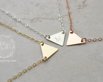 Initial Necklace Triangle / geometric necklace, personalized necklace, Gold, Silver, Rose Gold / Personalized Initial Necklace