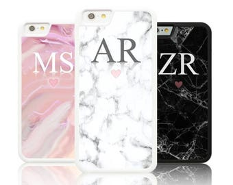 a0d25bd1a Personalized Marble LARGE INITIALS Silicone case Apple iphone 5,6,7,8,X  plus Galaxy S8 S7 S6 White Personalised custom initial