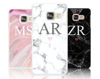 Personalized Marble LARGE INITIALS phone case for Samsung GALAXY A3 A5 2016 2017 Personalised Custom Initial hard Cover
