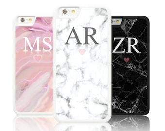 Personalized Marble LARGE INITIALS Silicone case Apple iphone 5,6,7,8,X plus Galaxy S8 S7 S6 White Personalised custom initial