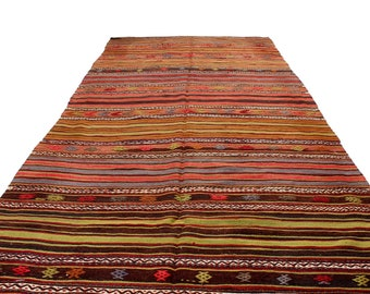 handmade wool rug kilim, big size vintage rug, semi antique area oushak kilim rug, muted colors Turkish kelim, hand woven rustic kelim rug
