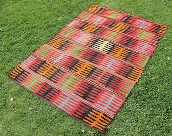 Turkish kilim rug 9x6, Vintage wool Kilim Rug, Anatolian handwoven Kilim rug, Turkish Rug kelim Area Rug Tapis colorful tribal rug,  10770