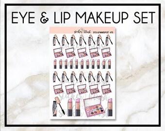 Cute eye and lip Makeup Planner Stickers - for erin condren/happy planner - #75