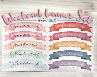 Weekend Banner Set matte or glossy - for use with erin condren - #82