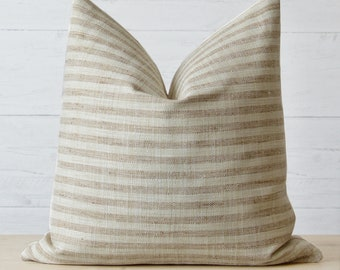 Natural Woven Striped Pillow Cover