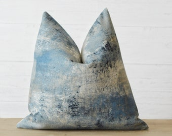 Indigo Mist Linen Pillow Cover