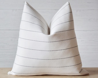 Black and White Woven Striped Pillow Cover