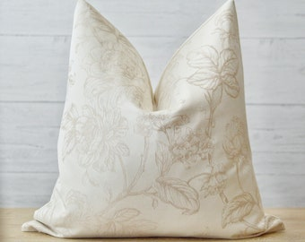 Neutral Floral Woven Pillow Cover