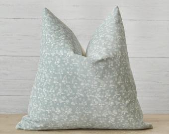 Blue Mist Floral Pillow Cover