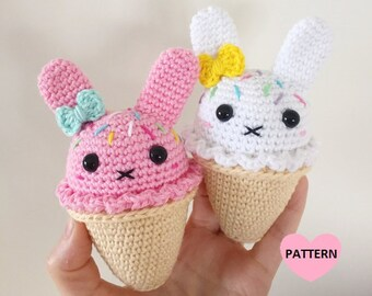 Bunny Ice Cream PDF Pattern, amigurumi, crochet