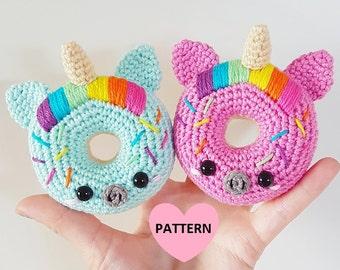 Unicorn Donuts PDF Pattern, amigurumi, crochet