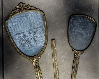 Vintage Comb Brush and Mirror Set