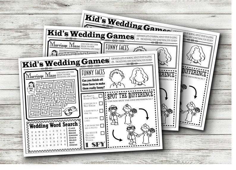 Wedding Kids Activity Sheet INSTANT DOWNLOAD | Etsy