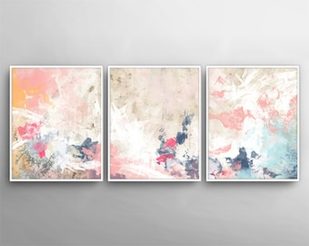Modern Wall Art, Set Of 3 , Painting Canvas Art , 3 Canvas Set, 3 Poster  Set, Printable Wall Art,Bedroom Art,Printable Canvas Set,Beige Pink
