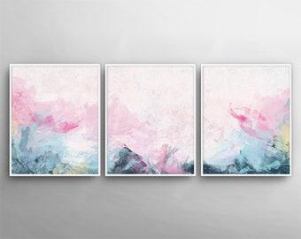 Set Of 3, Modern Wall Art , Painting Canvas Art , 3 Canvas Set, 3 Poster  Set, Printable Wall Art, Bedroom Art , Printable Canvas Set,Pink
