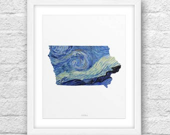Iowa Map, Iowa Print, Iowa Art, Iowa State, Iowa Design, Van Gogh Art, Iowa Printable, Instant Download, The Starry Night, Iowa Modern Art