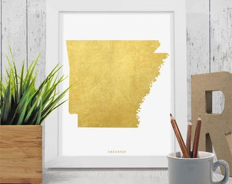 Arkansas Gold Map, Arkansas Print, Arkansas Art, Arkansas State,Gold Map Art, Arkansas Printable,Instant Download, Arkansas Gold Design Art