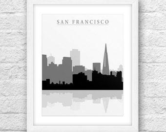 San Francisco B&W, Cities Black and White, San Francisco Skyline, San Francisco Art, San Francisco Wall Art, Minimalist, Instant Download