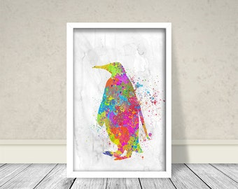 Penguin Watercolor, Sea Animals Watercolor Art, Home Decor, Wall Art