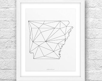 Arkansas Map, Arkansas Print, Arkansas Art, Arkansas State,Minimalist Art, Arkansas Printable,Instant Download, ArkansasLinesArt,ModernLines