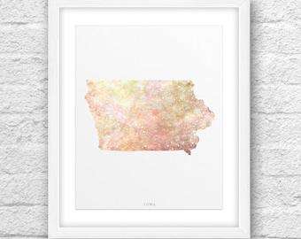 Iowa Map, Iowa Print, Iowa Art, Iowa State, Iowa Design, State Wall Art, Iowa Printable,Instant Download, ModernArt, Iowa Modern Art