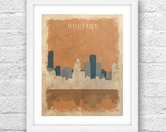 Houston Texas City ARt Houston Vintage Printable Houston