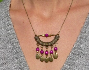 bohemian bib necklace, boho chic, ethnic tribal, plum color necklace, statement necklace, gift for her, handmade