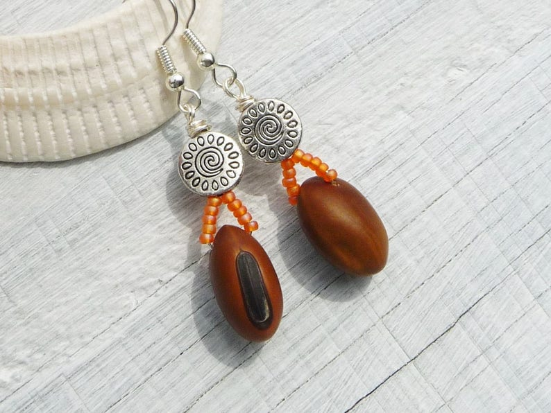handmade earrings autumn earrings eco-friendly, brown natural drop earrings natural jewelry