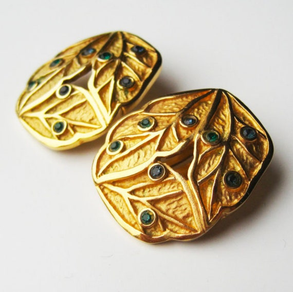 LANVIN vintage goldplated clip on earrings with b… - image 5