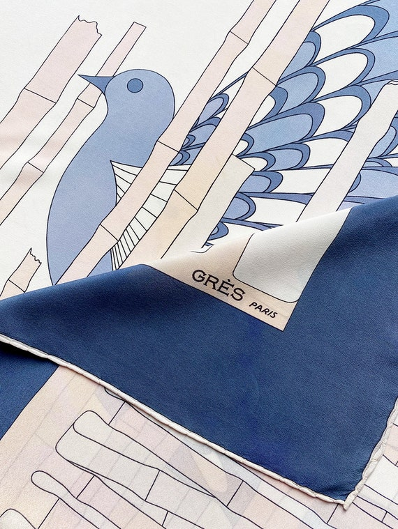 MADAME GRÈS vintage silk scarf with a pigeon and b