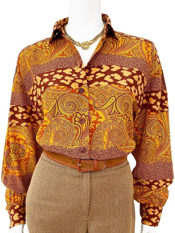 ESCADA vintage silk print blouse with paisley and