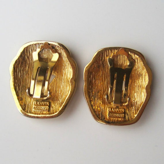 LANVIN vintage goldplated clip on earrings with b… - image 6
