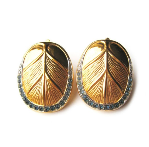 LANVIN vintage goldplated clip on earrings with i… - image 2