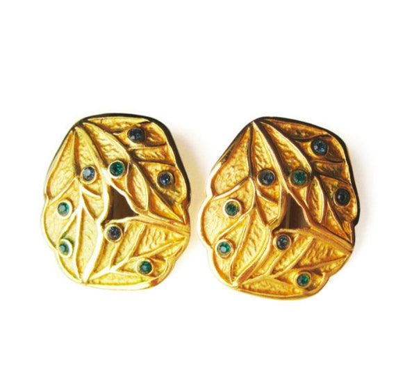 LANVIN vintage goldplated clip on earrings with b… - image 2