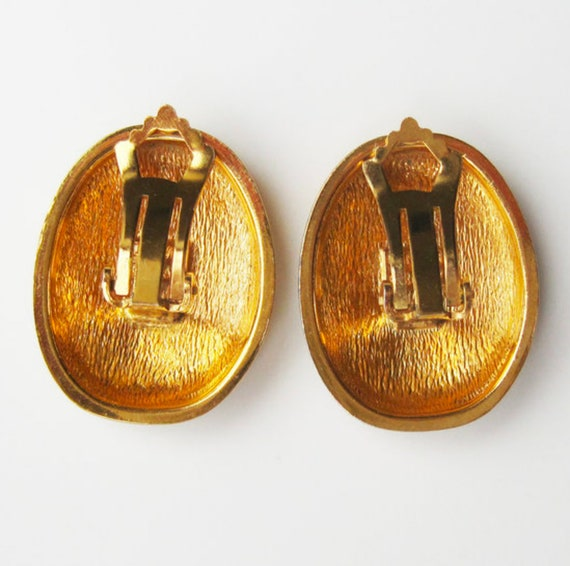 LANVIN vintage goldplated clip on earrings with i… - image 4