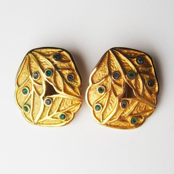 LANVIN vintage goldplated clip on earrings with b… - image 3