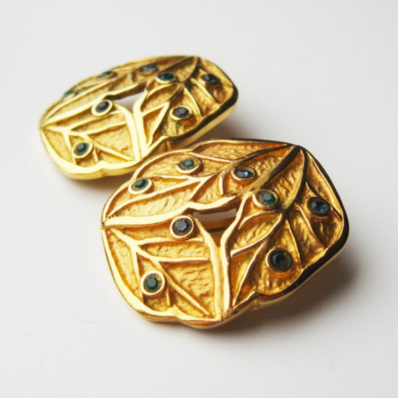 LANVIN vintage goldplated clip on earrings with b… - image 4