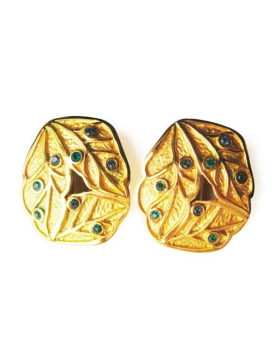 LANVIN vintage goldplated clip on earrings with b… - image 1