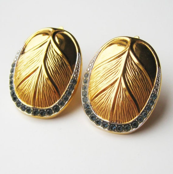 LANVIN vintage goldplated clip on earrings with i… - image 3