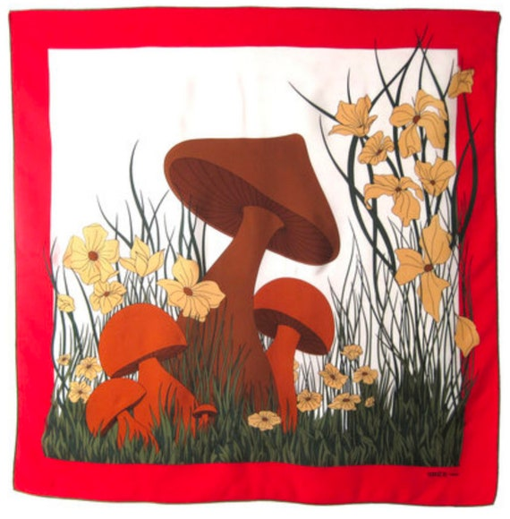 MADAME GRÈS Vintage silk scarf with mushrooms by M