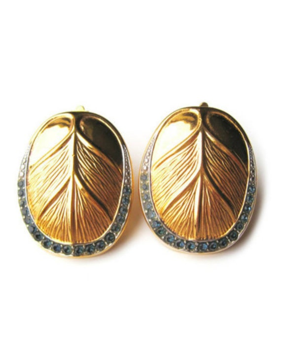 LANVIN vintage goldplated clip on earrings with i… - image 1